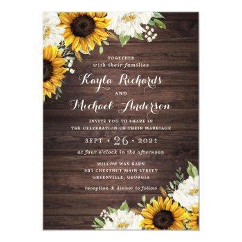 floral rustic wood sunflowers greenery barn invitation
