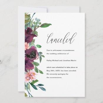 floral wedding cancellation announcement