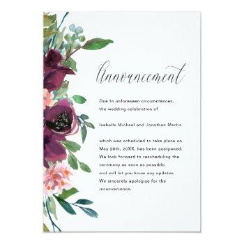 Small Floral Wedding Postponement Announcement Front View