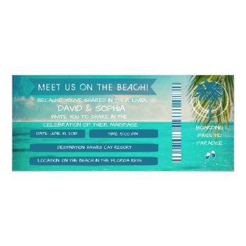 florida keys on the beach wedding boarding pass invitation