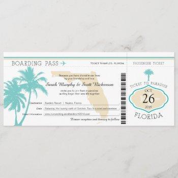 florida palm tree boarding pass wedding invitation