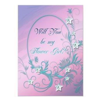 flower girl inviation with star diamonds invitation