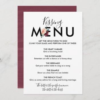 flower lettering | maroon kissing menu invitation