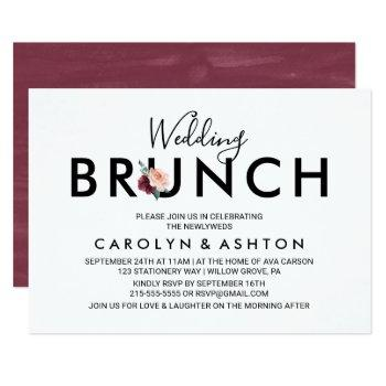 flower lettering | maroon wedding brunch invitation