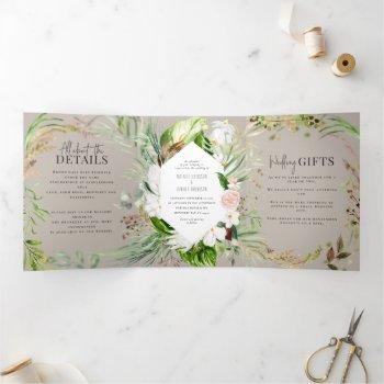 foliage + floral wedding invitation and details
