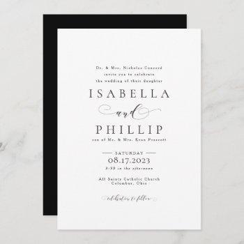 formal black and white wedding invitation