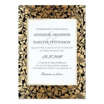 formal floral black and gold wedding invitation