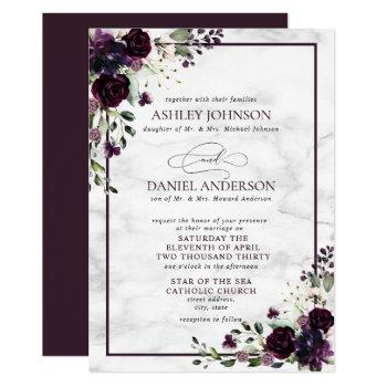 formal plum purple flower watercolor wedding invitation