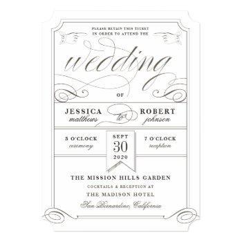 formal wedding antique ticket die cut shimmer invitation