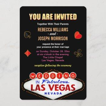 formal wedding in fabulous las vegas sign poker invitation