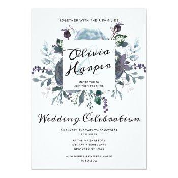 Small French Twilight Floral Watercolor Wedding Ceremony Invitation Front View
