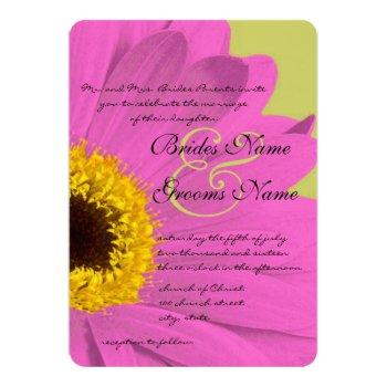fuchsia and lime gerber daisy wedding invitation