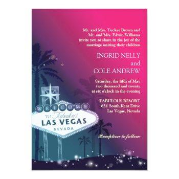 fuchsia n sea green las vegas nevada wedding invitation