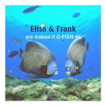 fun tropical fish love wedding invitation