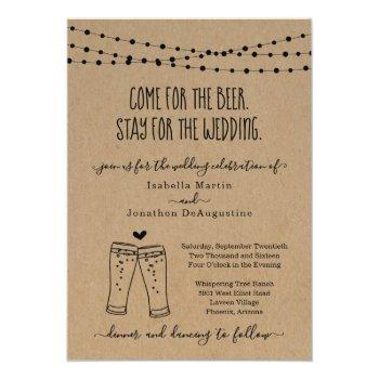 funny beer theme wedding invitation