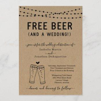 funny free beer and a wedding invitation