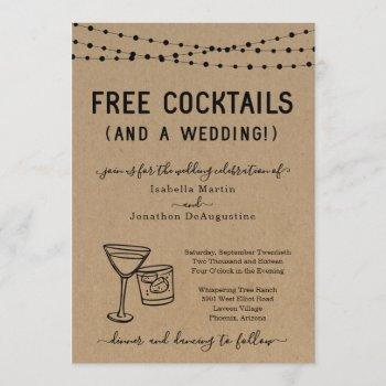 funny free cocktails and a wedding invitation