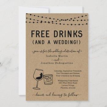 funny free drinks and a wedding invitation