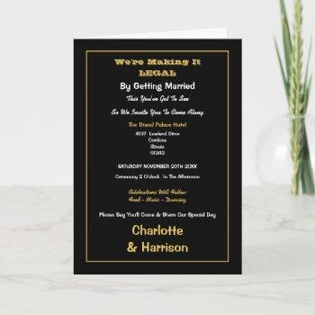 funny making it legal informal wedding invitation