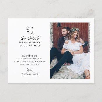 funny roll with it photo wedding postponement announcement postcard