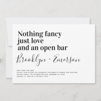 funny typography black white wedding invitation