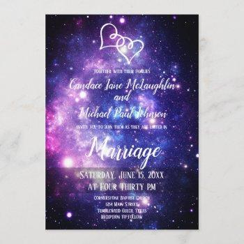 galaxy starry night space double hearts wedding invitation