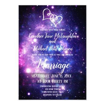 galaxy starry night space double hearts wedding invitation