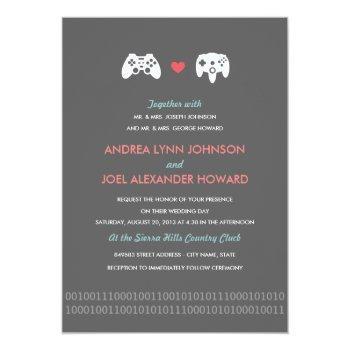 gamer controller love wedding invitation