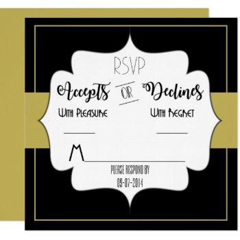 gatsby gold wedding suite reception party rsvp invitation