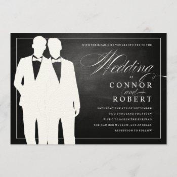 gay chalkboard wedding two grooms silhouettes invitation