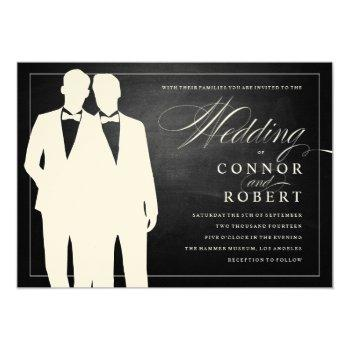 gay chalkboard wedding two grooms silhouettes invitation