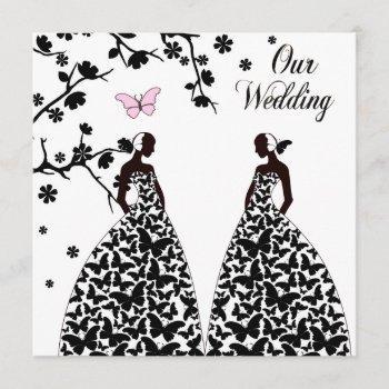gay & lesbian wedding invitation with two brides