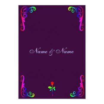 gay lgbt wedding invitation- rainbow & purple invitation