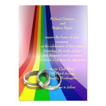 gay rainbow and rings wedding invitation