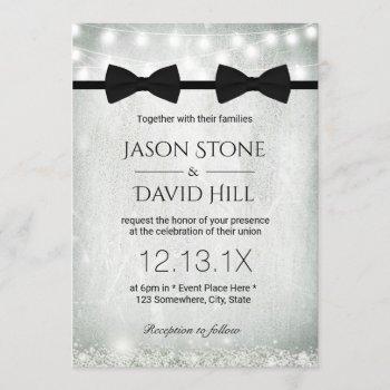 gay wedding double bow ties baby's breath invitation