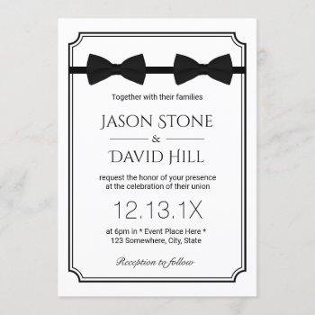 gay wedding double bow ties classic framed invitation