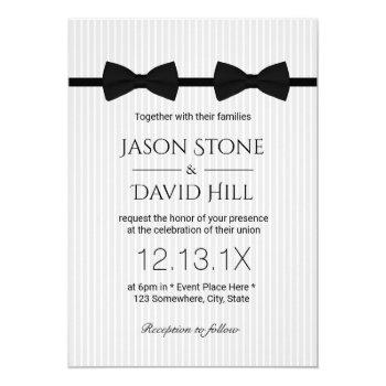 gay wedding double bow ties classic wedding invitation