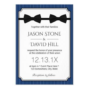 gay wedding double bow ties classy navy blue invitation
