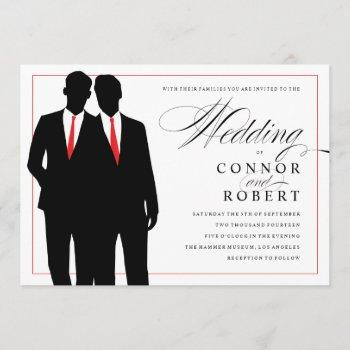 gay wedding invitation two grooms silhouettes red