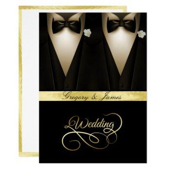 gay wedding tuxedos white roses gold foil invitation