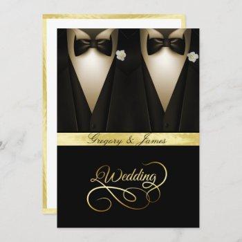 gay wedding tuxedos white roses gold foil invitation