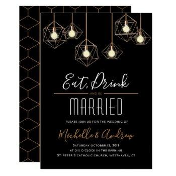 geo lights eat drink and be married wedding invitation
