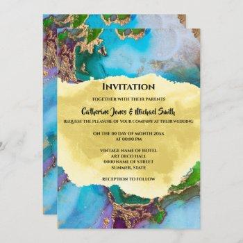 geode peacock colors abstract agate modern chic invitation