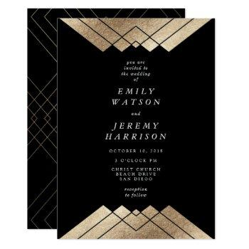 geometric black gold gatsby wedding invitation