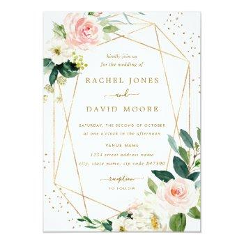 Small Geometric Blush Gold Floral Wedding Invitation Front View