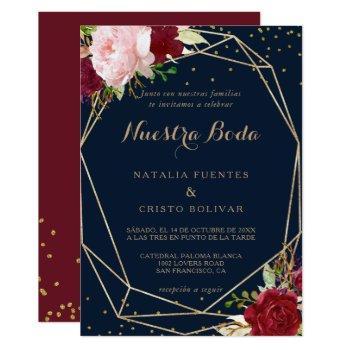 geometric gold glitter red spanish wedding invitation