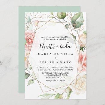 geometric gold green foliage nuestra boda wedding invitation