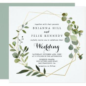 geometric gold tropical green front & back wedding invitation