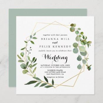 geometric gold tropical green front & back wedding invitation