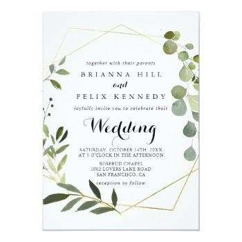 Small Geometric Gold Tropical Green Front & Back Wedding Invitation Front View